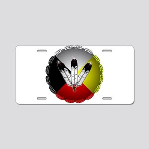 Three Eagle Feathers Aluminum License Plate