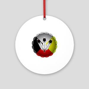 Three Eagle Feathers Ornament (Round)