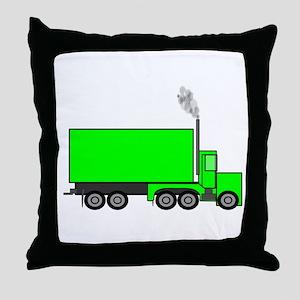 Green Semi Truck Throw Pillow