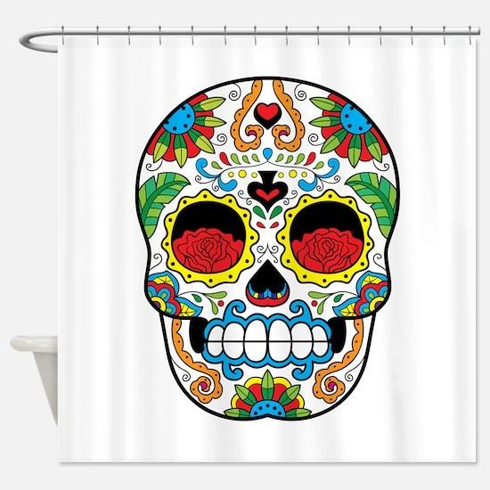White Sugar Skull with Roses in Eye Sockets Shower