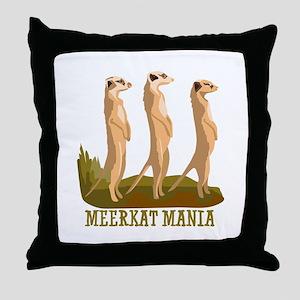 Meerkat Mania Throw Pillow