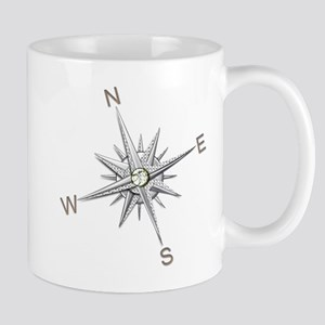Silver Metallic Compass Points Mugs