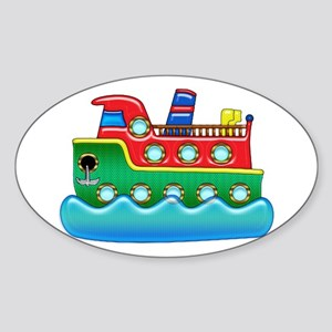 Kids Play Colorful Cruise Ship Sticker