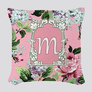 Letter M Floral Pink Monogram Woven Throw Pillow