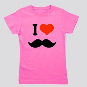 I love mustache Girl's Tee