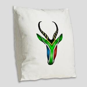 Springbok Flag 2 Burlap Throw Pillow