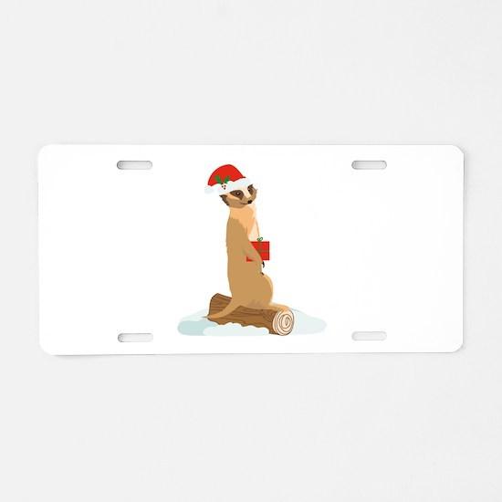 Christmas Meerkat Aluminum License Plate