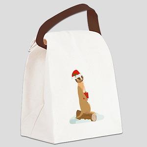 Christmas Meerkat Canvas Lunch Bag