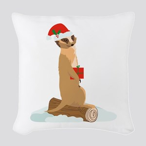 Christmas Meerkat Woven Throw Pillow