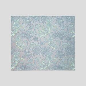 Blue Flourish Throw Blanket