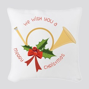 We Wish You A Merry Christmas Woven Throw Pillow
