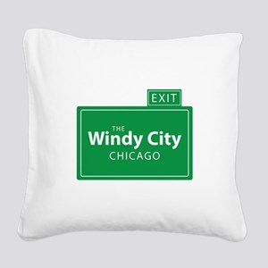The Windy City Chicago Square Canvas Pillow