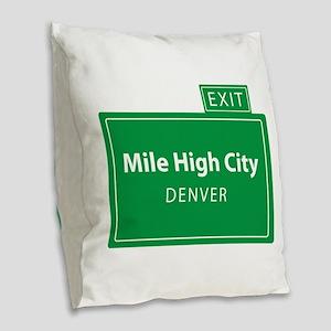 Mile High City Denver Burlap Throw Pillow