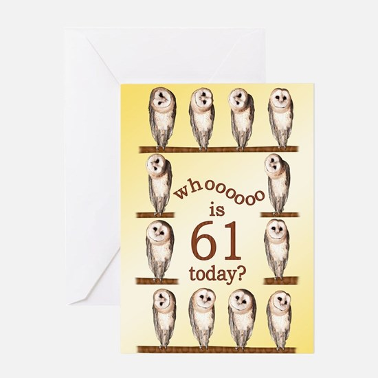 61st birthday with curious owls. Greeting Cards