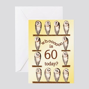 60th birthday with curious owls. Greeting Cards