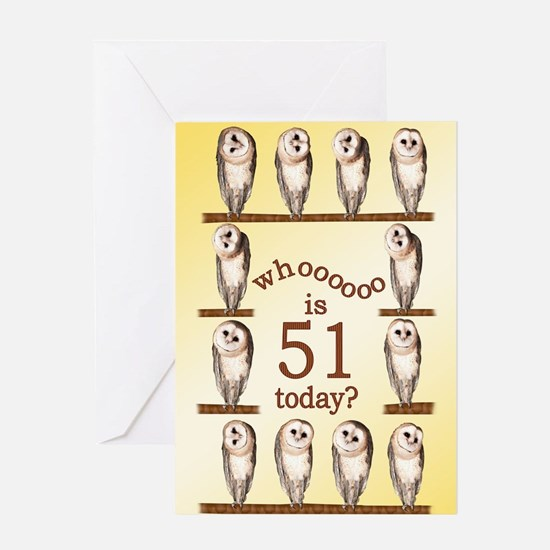 51st birthday with curious owls. Greeting Cards