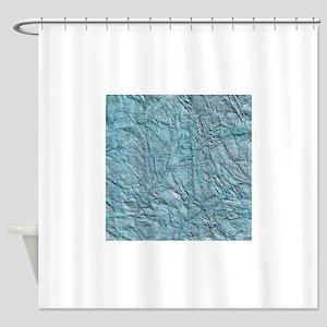 Blue Wrinkled Foil Texture Shower Curtain