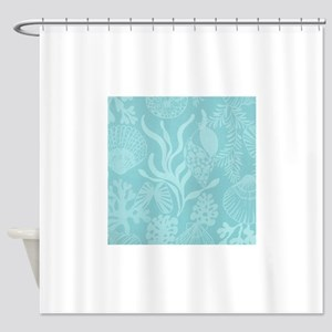 Blue Undersea Coral Shells Shower Curtain