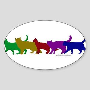 Rainbow cats Oval Sticker