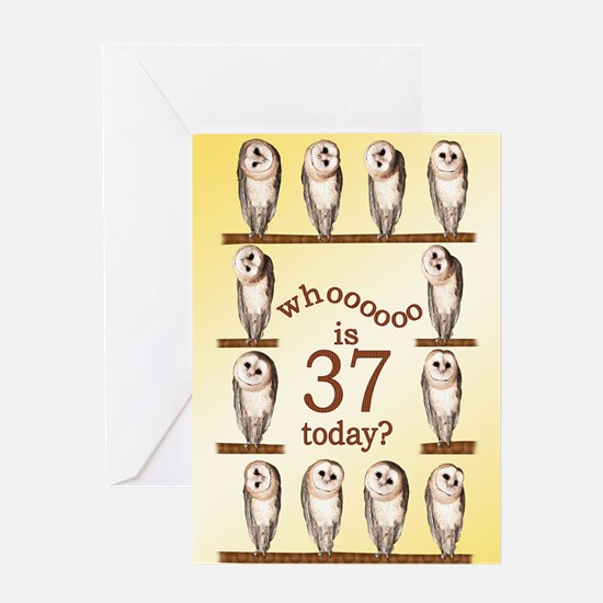 37th birthday with curious owls. Greeting Cards