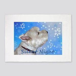 Silent Night with Westie 5'x7'Area Rug
