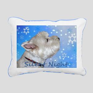 Silent Night with Westie Rectangular Canvas Pillow
