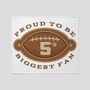 Football Number 5 Biggest Fan Throw Blanket