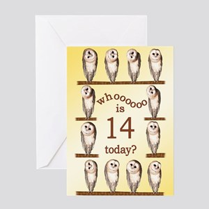14th birthday with curious owls. Greeting Cards