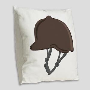 Jockey Helmet Burlap Throw Pillow