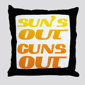 sun's out guns out fitness and gym Throw Pillow