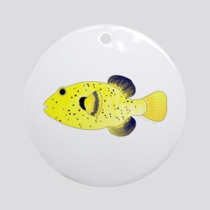 Guineafowl Puffer Yellow Ornament (Round)