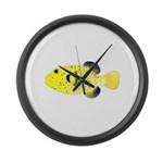 Guineafowl Puffer Yellow Large Wall Clock