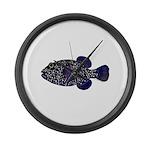 Guineafowl Puffer Black Large Wall Clock