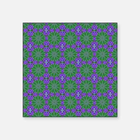 "Green Circles Art Pattern Square Sticker 3"" x 3"""