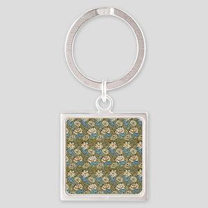 William Morris Chrysanthemum Patte Square Keychain
