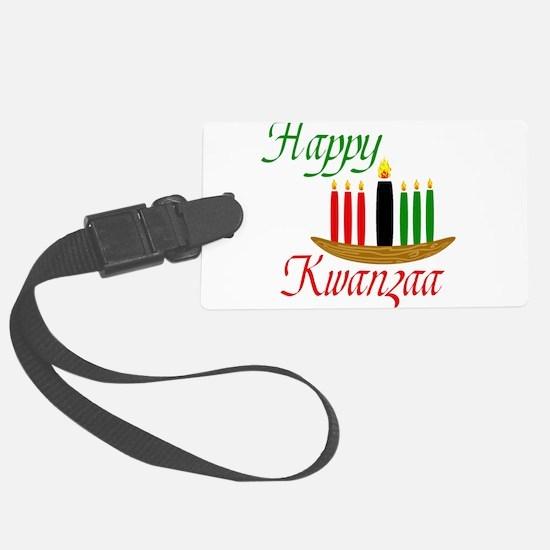 Fancy Happy Kwanzaa with hand drawn kinara Luggage