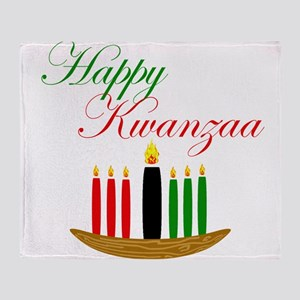 Elegant Happy Kwanzaa with hand drawn kinara Throw