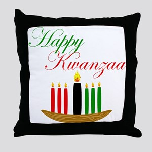 Elegant Happy Kwanzaa with hand drawn kinara Throw