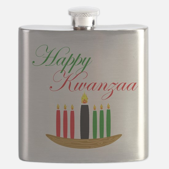 Elegant Happy Kwanzaa with hand drawn kinara Flask