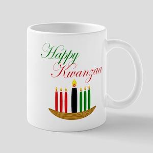 Elegant Happy Kwanzaa with hand drawn kinara Mugs