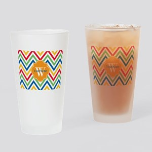 Modern Chevron Custom Monogram Drinking Glass