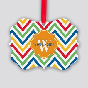 Modern Chevron Custom Monogram Picture Ornament