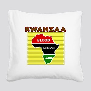 Kinara with lit candles Square Canvas Pillow