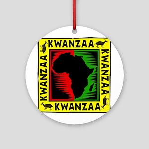 Celebrate Kwanzaa african print Ornament (Roun