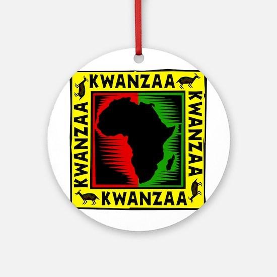 Celebrate Kwanzaa african print.png Ornament (Roun