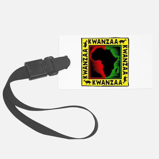 Celebrate Kwanzaa african print.png Luggage Tag