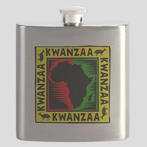 Celebrate Kwanzaa african print Flask