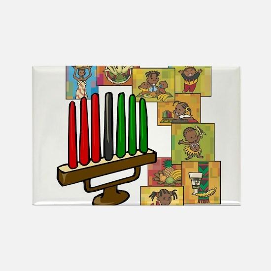 Celebration of Kwanzaa kinara & collage.png Magnet
