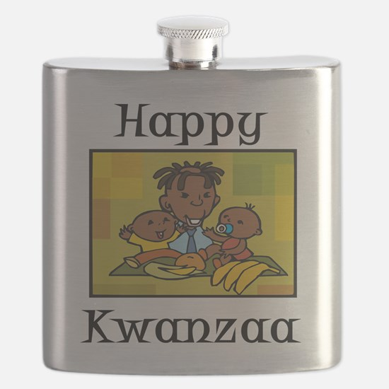 Happy Kwanzaa Family with babies.png Flask