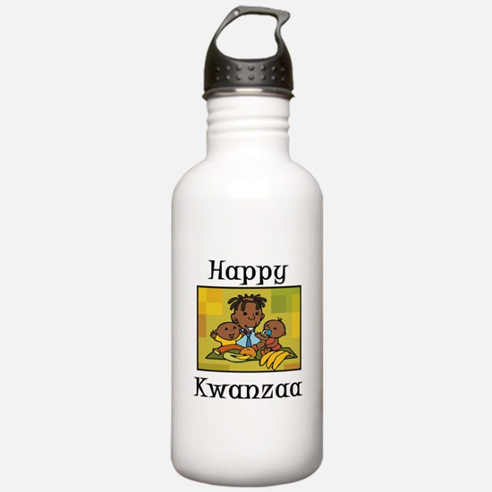 Happy Kwanzaa Family with babies.png Water Bottle